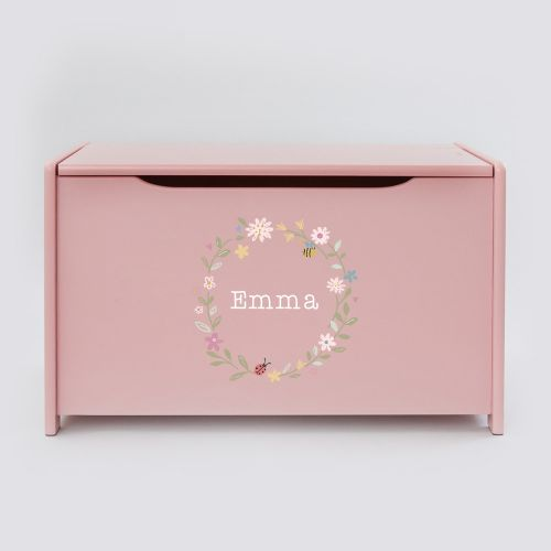 Personalised Pink Floral Wreath Toy Box
