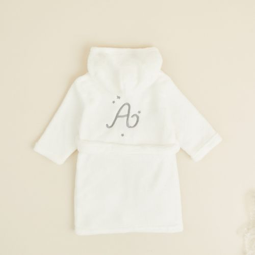 Personalised Ivory Initial Fleece Dressing Gown