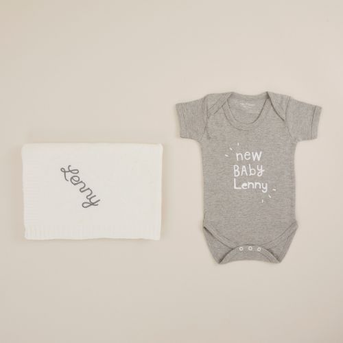 Personalized White 'New Baby' Sleep and Snuggle Gift Set