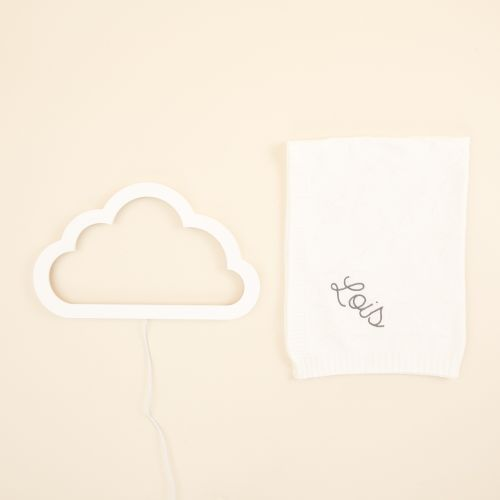Personalised Cloud Night Light and Blanket Gift Set