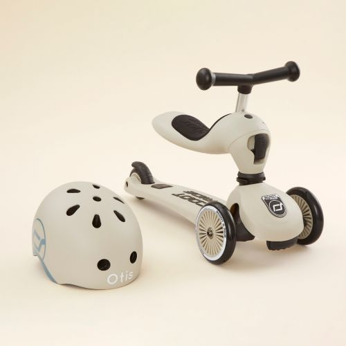Personalised Scoot and Ride Grey Highway Kick 1 Scooter & Helmet Gift Set