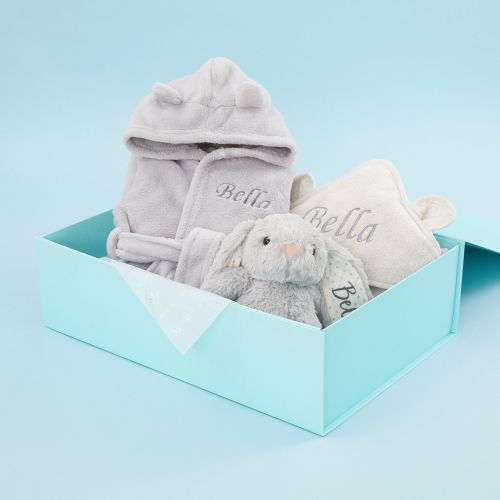Personalized Gray Splash, Snuggle & Cuddle Gift Set