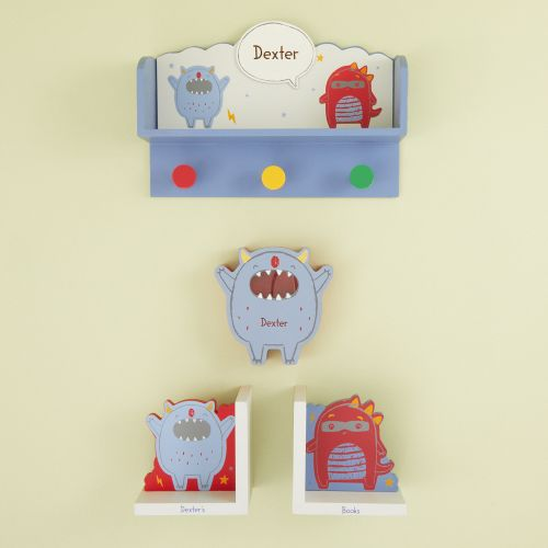 Personalised Little Monster Wooden Room Accessories Gift Set