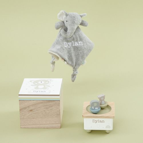 Personalised Bear and Elephant Nursery Accessories Gift Set