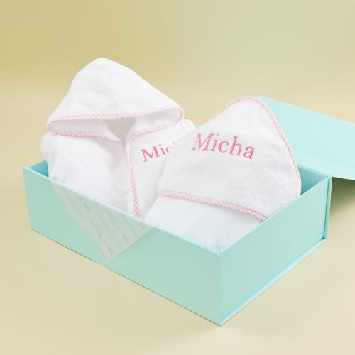 Personalised Pink Gingham Trim Gift Set