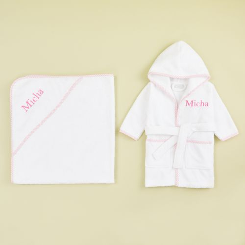Personalized Pink Gingham Trim Gift Set