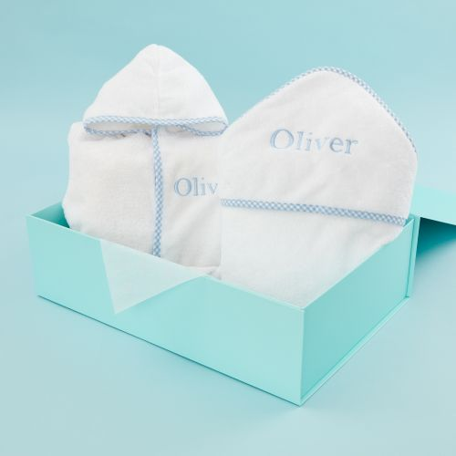 Personalised Blue Gingham Trim Gift Set