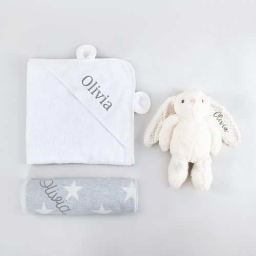 Personalized New Baby Essentials Gift Set - White