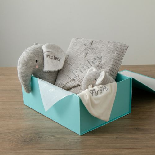Personalised Grey Elephant Baby Gift Set