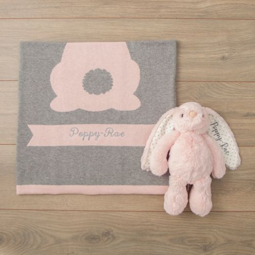 Personalized Pink Bunny Blanket Gift Set