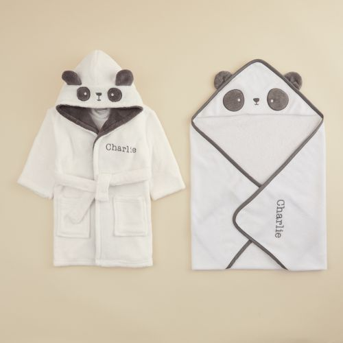 Personalized Monochrome Panda Hooded Towel & Robe Gift Set
