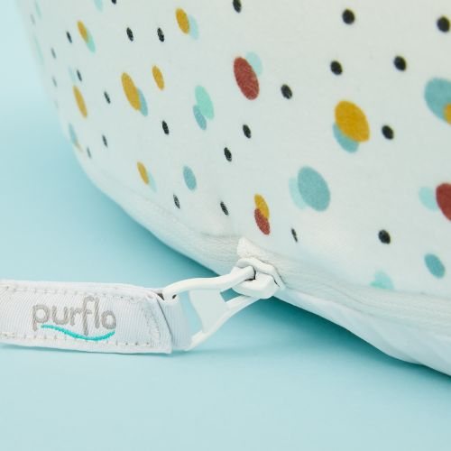 Personalised Purflo 'Scandi Spot' Baby Bed and Swaddle to Sleep Bag Set 3-9 Months