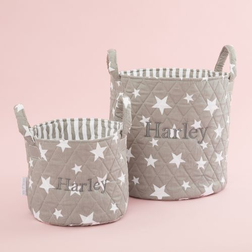 Personalized Gray Star Storage Bag Gift Set