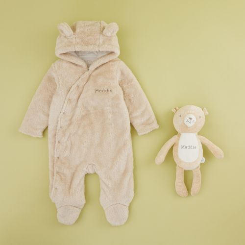 Personalized Neutrals Pram Suit & Bear Gift Set