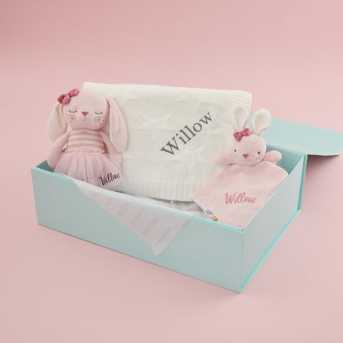 Personalized Baby Bunny and Blanket Gift Set