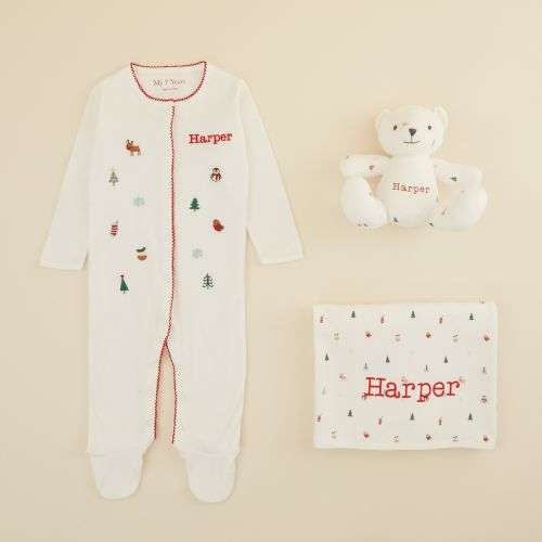 Personalised Christmas Print Organic Baby Gift Set