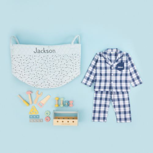 Personalized Blue Playtime & Pajamas Gift Set