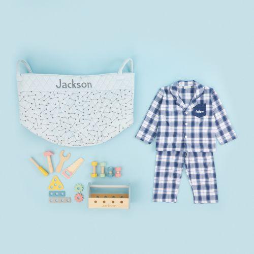 Personalized Blue Playtime & Pajamas Gift Set