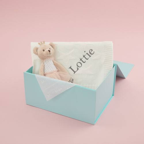 Personalized Blanket and Soft Bear Doll Gift Set