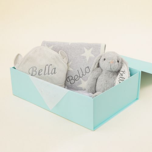 Personalised Grey New Baby Gift Set
