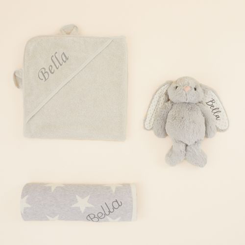 Personalized Gray New Baby Gift Set