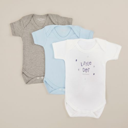 Personalised Pack of 3 Bodysuits with Blue Little Dot Design