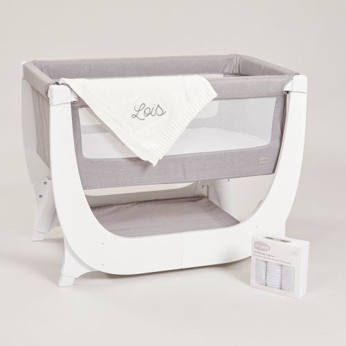 Personalised Shnuggle Air Bedside Crib Set and Blanket Gift Set