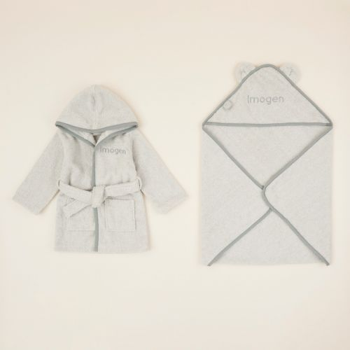 Personalised Grey Splash & Snuggle Gift Set
