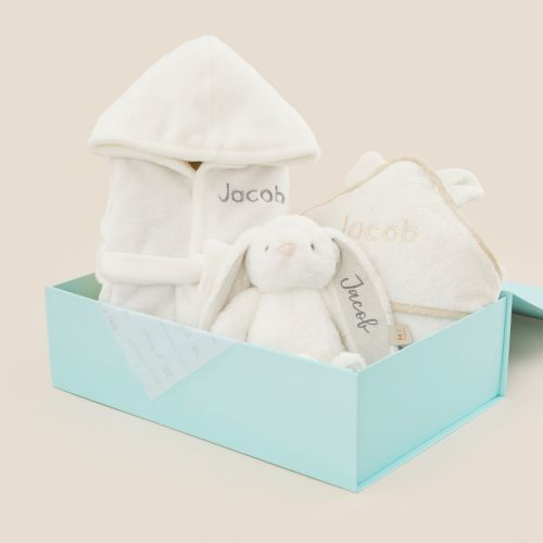 Personalised Ivory Splash, Snuggle & Cuddle Gift Set