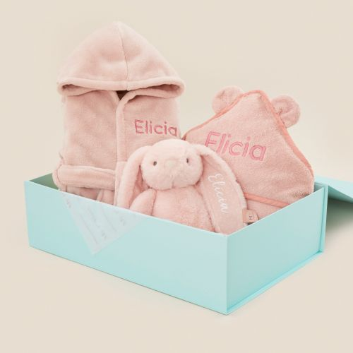 Personalised Pink Splash, Snuggle & Cuddle Gift Set