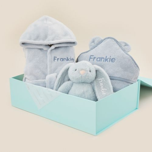 Personalised Blue Splash, Snuggle & Cuddle Gift Set