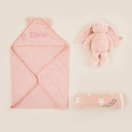 Personalized New Baby Essentials Gift Set - Pink