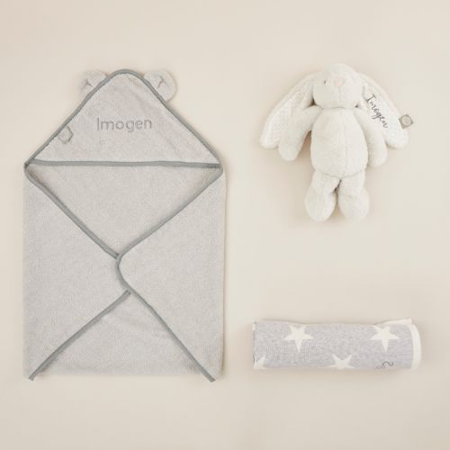 Personalised Grey New Baby Essentials Gift Set