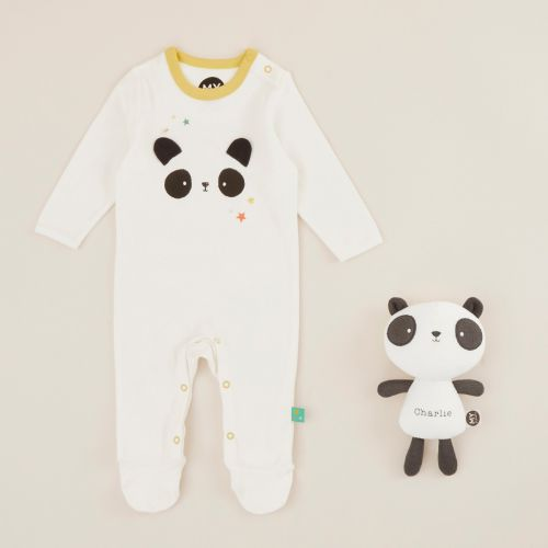 Personalized Panda Sleepsuit and Soft Toy Baby Gift Set