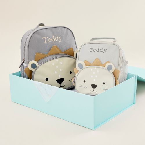 Personalised Lion Backpack & Lunch Bag Gift Set