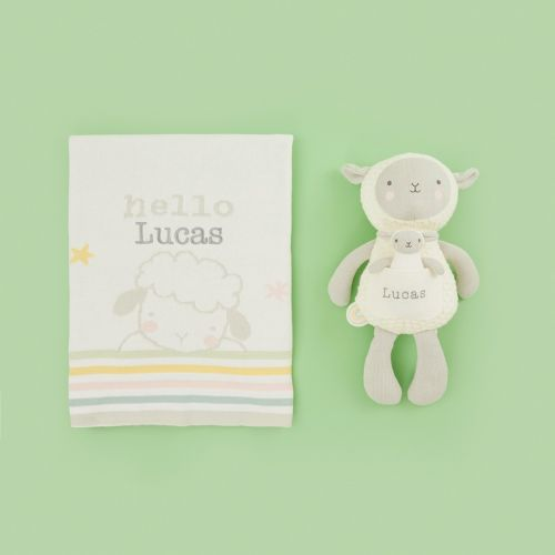 Personalised Little Lamb Soft Toy & Blanket Gift Set
