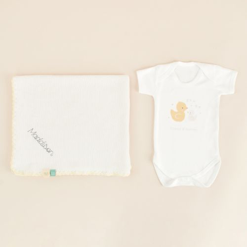 Personalised 'You & Me' Bodysuit and Knitted Blanket Gift Set