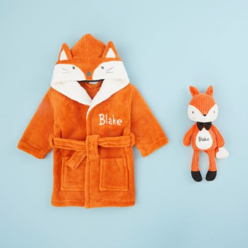 Personalised Mr Fox Soft Toy and Robe Gift Set