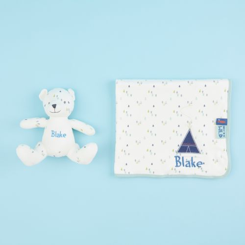 Personalized Forest Print Bear & Blanket Organic Baby Gift Set