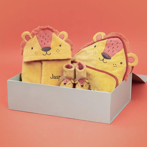 Personalised Little Lion Splash, Snuggle & Snooze Gift Set