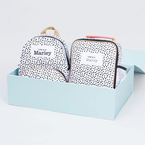 Personalised Polka Dot Mini Backpack and Lunchbag Gift Set