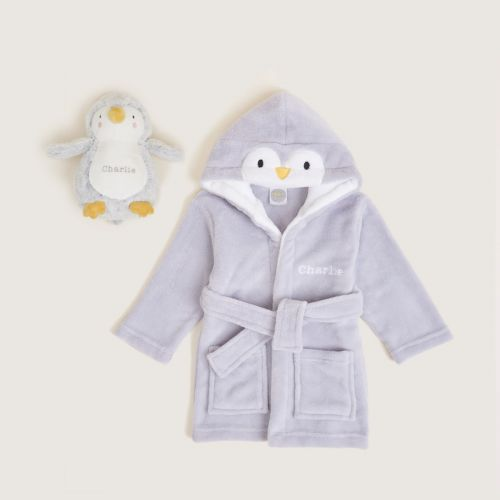 Personalised Goodnight Penguin Robe and Soft Toy Gift Set