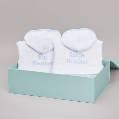 Blue Picot Trim Sibling Dressing Gown Gift Set