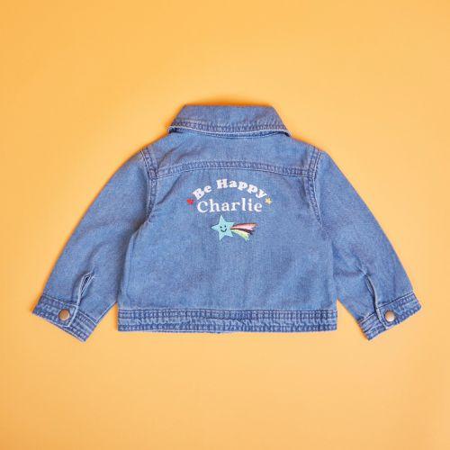 Personalised Be Happy Slogan Denim Jacket
