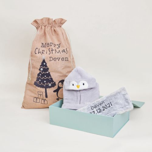 Personalised Penguin Cosy Christmas Gift Set