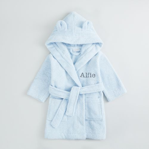 Personalized Blue Hooded Towelling Robe
