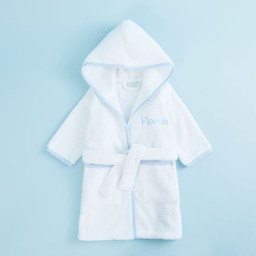 Personalised Blue Trim Gingham Robe