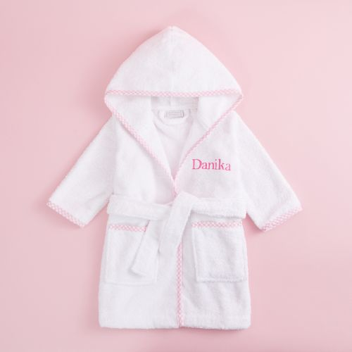Personalized Pink Trim Gingham Robe