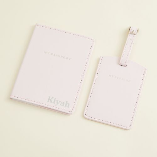 Personalised Passport Holder & Luggage Tag - Pink