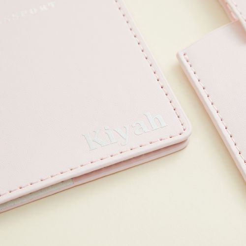 Personalized Passport Holder & Luggage Tag - Pink